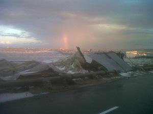 Una tromba de agua y granizo tumba decenas de invernaderos en el término municipal de El Ejido
