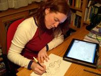 Isabel Aguilar utiliza el pctablet para realizar sus ilustraciones