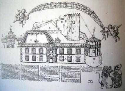 Dibujo de castillo de Bibataubin (1752) en el que se puede la torre almenada