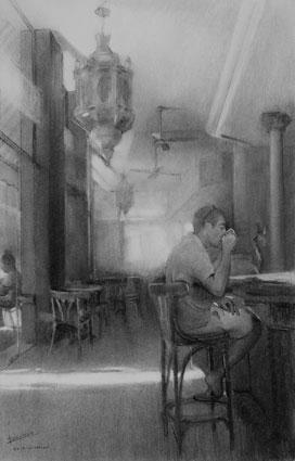 Interior de la Cafetería Lisboa (carboncillo)