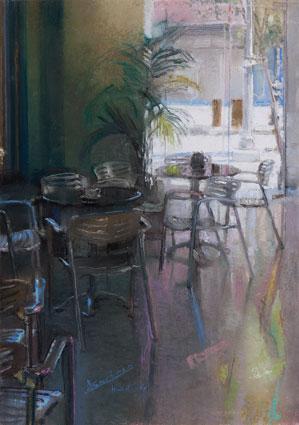 Contraluz de las mesas de la Cafetería la Isla