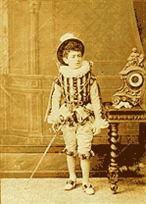 Falla disfrazado de mosquetero para el Carnaval de Cádiz de 1883