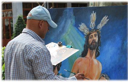 Tras pintar al Despojado Jesús tiene previsto dedicar otro cuadro a la Aurora