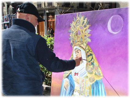 Tras terminar el Despojado. Jesús Mochón pinta la Virgen de la  Aurora