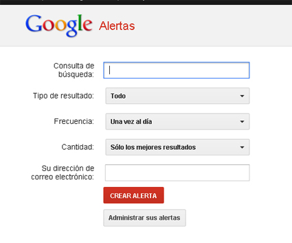 La ventana de Google desde la que se pueden crear hasta mil alertas