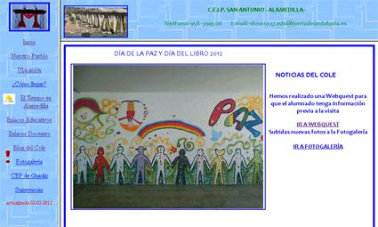 Portada de la web del CEIP San Antonio (Alamedilla)