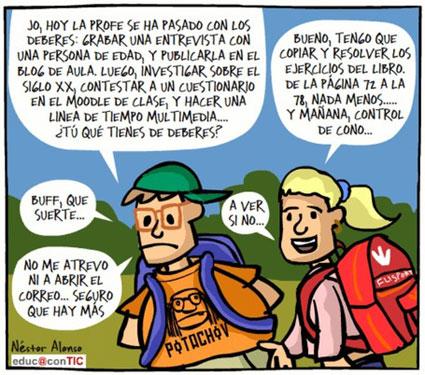 Una de las típicas viñetas de Néstor Alonso publicada en el portal Educ@nTIC