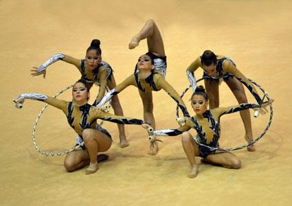 Equipo del Rítmica Nevada Armilla en el ultimo campeonato nacional celebrado en Zaragoza