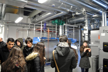 Durante la visita a la central de biomasa