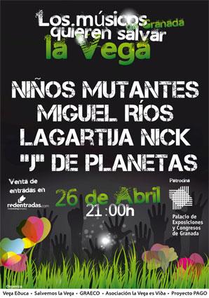 Cartel del concierto solidario que tendrá lugar el 26 de abril en el Palacio de Congresos de Granada