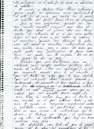 Texto manuscrito contando la experiencia