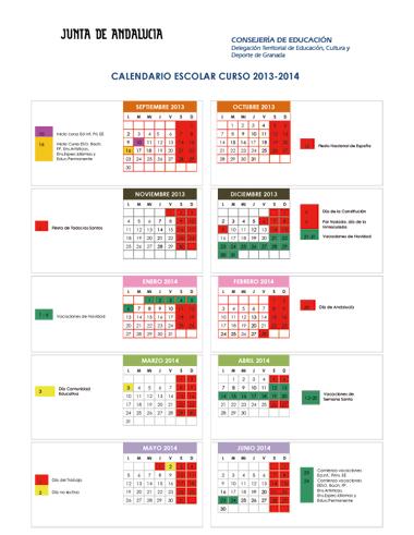Calendario escolar de la provincia de Granada, Curso 2013-14, Niveles no universitarios