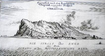 Gibraltar et les batteries flotantes, realizado por Jacob Xaver Schmuzer y estampado en Alemania hacia 1795