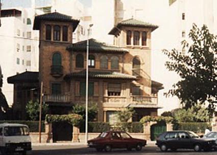 Palacete de la calle Alhamar derribado para construir en su solar el actual Hotel Alhamar