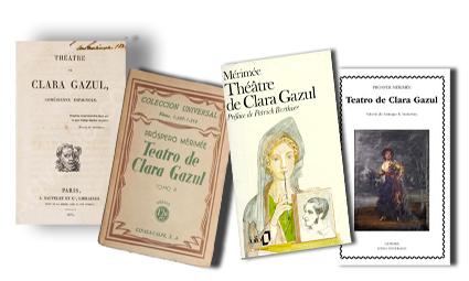 Portadas de varias ediciones del Teatro de Clara Gazul