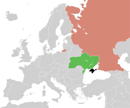 Crisis de Crimea (en el mapa, en color negro), Ucrania (en verde) y Rusia (rosado). Fuente: Wikipedia