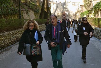 Carolina Molina e Isacio Rodriguez, en una de las rutas organizadas tras la celebración de las II Jornadas de Novela Histórica