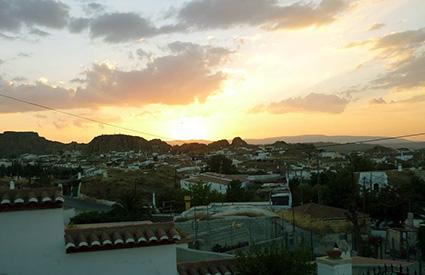 Puesta de sol, en Guadix, desde el barrio de Fátima. 16 de agosto, de 2014, 20:53 horas