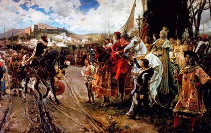 Boabdil rinde Granada a los Reyes Católicos. (Cuadro de Francisco Pradilla)