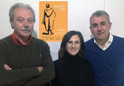 Manuel Fernández Magán, Teresa Rancaño y Blas Calero, coordinadores de la exposición 'Bertuchi y la EAG'