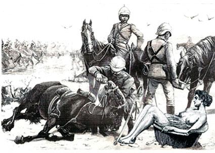 Collage de Olgoso para texto de Fernando de Villena titulado Caballo lascivo.