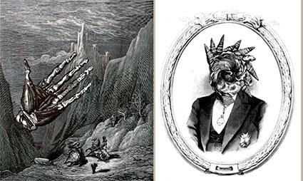 Collage  para texto de J A Merino (El último gigante) y La piel en el rompiente de A. Olgoso