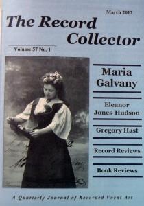 Portada del nº 1 vol 57 de 2012, de la revista The Recorder Colector, dedicada a María Galvany